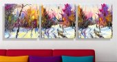 Renkli Orman Parçalı Kanvas Tablo Saat