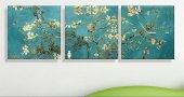 Badem Çiçekleri Üç Parçalı Kanvas Tablo Saat
