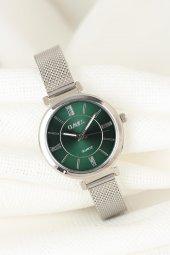 Silver Renk Kaplama Hasır Metal Kordonlu Yuvarlak Metal Yeşil İç Tasarımlı Kasa Clariss Marka Bayan Saat