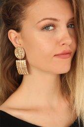 Gold Renk Metal Geometrik Bayan Küpe