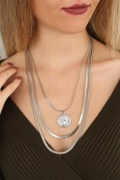 Silver Renk Madalyon Çoklu Zincirli Bayan Yeni Sezon Kolye