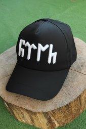Göktürkçe Türk Yazılı Siyah Renk Şapka