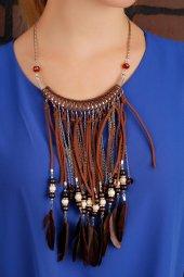 Kahverengi Deri Ve Tüy Tasarım Bayan Yaka Kolye