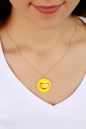 Trend Tebessüm Eden Emoji Bayan Kolye