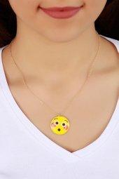 Trend Şaşkın İfadeli Emoji Bayan Kolye