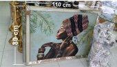 üç Boyutlu 110x80 Cm Kabartma Küpeli Eşarplı Zenci Kadın Başı Aynalı Aluminyum Çerçeveli Tablo Pano