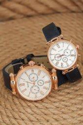 Lacivert Deri Kordonlu Beyaz Renk İç Tasarımlı Rose Renk Metal Kasa Sevgili Saatleri