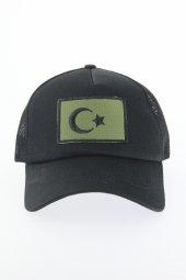 Siyah Renk Ay Yıldız Tasarımlı Şapka