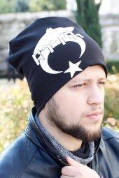 Bozkurt Hilal ve Göktürkçe Türkçe Yazılı Siyah Renk Erkek Bere