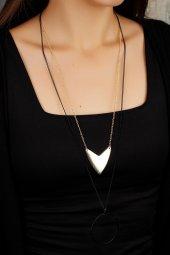 Dore Ve Siyah Renk Geometrik Tasarım Bayan Kolye