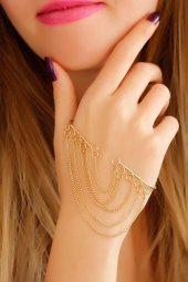 Sarı Metal Zincir Tasarımlı Bayan El Bileziği