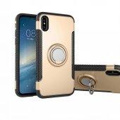 iPhone X Yüzüklü Çift Katmanlı Standlı Kapak Altın + Temperli Ekr