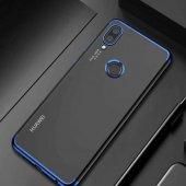 Coverzone Huawei P20 Lite Dört Köşeli Lazer Silikon Mavi + Temper