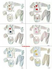 Organik 5 Parça Kız Erkek Bebek Yeni Doğan Hastane Çıkışı Zıbın Set