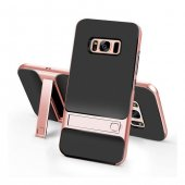 Samsung Galaxy S8 Stand Rose Gold Kılıf Arka Koruyucu Kapak