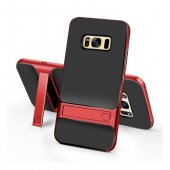 Samsung Galaxy S8 Stand Kırmızı Kılıf Arka Koruyucu Kapak