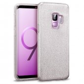 Samsung Galaxy S9 Shining Gümüş Silikon Kılıf Arka Koruyucu Kapak