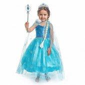 Elsa Kostümü Simli Kostum Ful Aksesuarlı