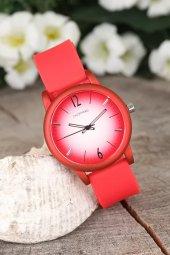 Kırmızı Renk Silikon Kordonlu Beyaz Renk İç Tasarımlı Bayan Kol Saati