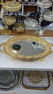 Aynalı Gold Rengi İşlemeli Tepsi (38x26)