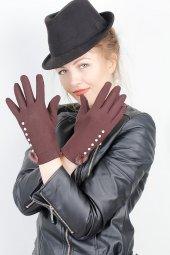 Kahverengi Renk Bayan Dokunmatik Ekran Eldiven