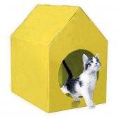 Su Geçirmez Kedi Evi Sarı 45x35x46 Cm