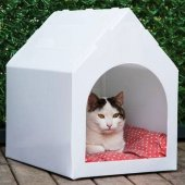Maskot Kedi Evi Küçük Boy Beyaz Renkte