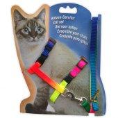 Dr. Sacchi Kedi Gezdirme Seti Gökkuşağı (Uzatma+Göğüs Tasması)