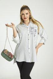 Femina Çizgili Cep Detaylı Büyük Beden Gömlek 40036 Lacivert Siyah