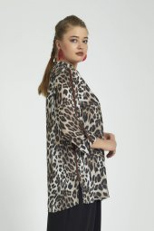 Femina Leopar Yuvarlak Yaka Büyük Beden Gömlek Bluz 40050 Vizon Gri