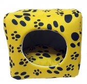3 Fonksiyonlu Pati Desenli Büyük Kedi & Köpek Yatağı (Sarı Renk)