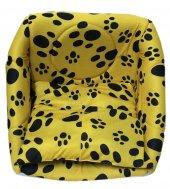 3 Fonksiyonlu Pati Desenli Büyük Kedi & Köpek Yatağı (SARI RENK)-2