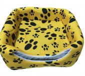 3 Fonksiyonlu Pati Desenli Büyük Kedi & Köpek Yatağı (SARI RENK)-3