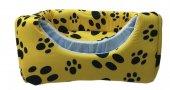 3 Fonksiyonlu Pati Desenli Büyük Kedi & Köpek Yatağı (SARI RENK)-4