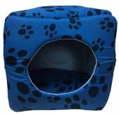 3 Fonksiyonlu Pati Desenli Büyük Kedi & Köpek Yatağı (Mavi Renk)