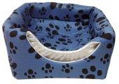 3 Fonksiyonlu Pati Desenli Büyük Kedi & Köpek Yatağı  (MAVİ RENK)-2