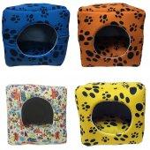 3 Fonksiyonlu Pati Desenli Büyük Kedi & Köpek Yatağı  (MAVİ RENK)-3
