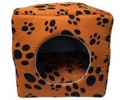 3 Fonksiyonlu Pati Desenli Büyük Kedi & Köpek Yatağı (Turuncu Renk)