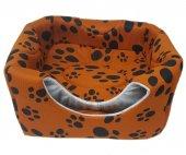 3 Fonksiyonlu Pati Desenli Büyük Kedi & Köpek Yatağı (TURUNCU RENK) -2
