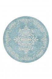 Passion 2089 Cm 160x160cm Yuvarlak Mavi Kaydırmaz Halı