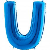 U Harf Grabo Folyo Balon Mavi 100 Cm