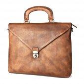 Fashion Retro Leather Bag Business Brief Açık Kahve