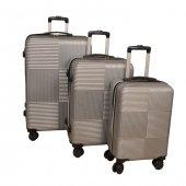 Poli Karbon Set 3 Boy Çanta Çekmeli Valiz Bavul...