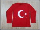Kırmızı Ayyıldız Baskılı T Shirt Ayyıldız Poster Uzun Kol Penye Tişört 23 Nisan 10 Kasım Badi, Ayyıldız Badi