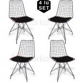 Visuel Kafes Tel Sandalye Ofis Cafe Bahçe Balkon Mutfak 4lü Set