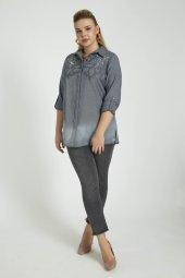 Femina İşleme Detaylı Pamuklu Büyük Beden Gömlek 40215 Mavi Gri