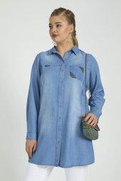 Femina Büyük Beden Tencel Kot Gömlek 40768 Mavi Lacivert