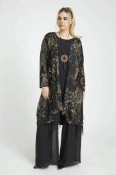 Femina Desenli Büyük Beden Takım Bluz 40721 Siyah