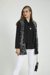 Femina Büyük Beden Aksesuarlı Takım Bluz 40440 Siyah