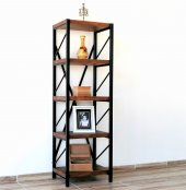 Metal Ahşap Kitaplık Seti Ofis Büro Raf K006